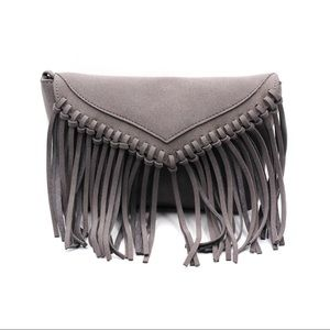 Gray fringed suede shoulder small purse